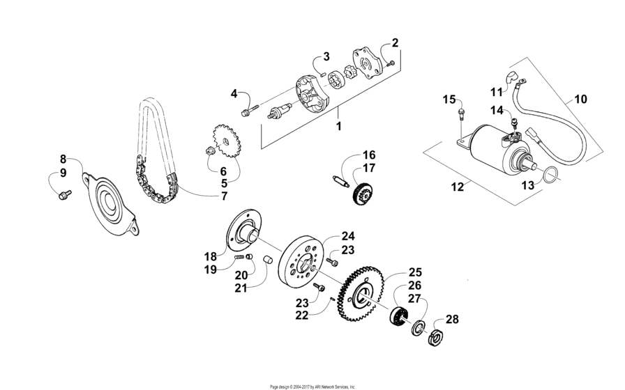 Starter Motor And Oil Pump Assembly